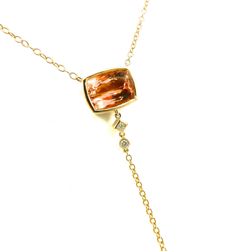 14k yellow gold Topaz Y Necklace with diamond accents