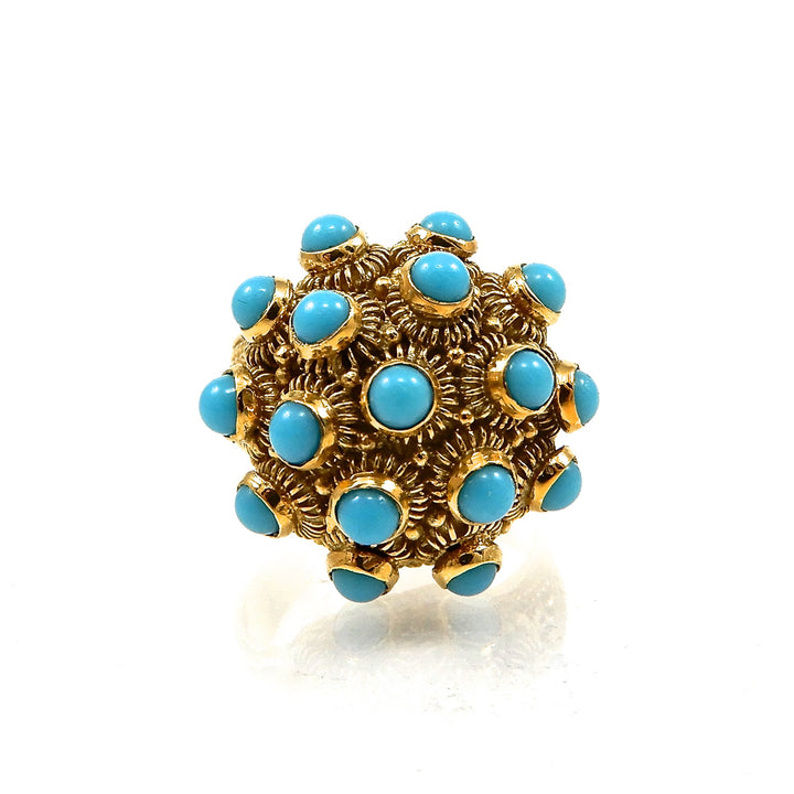 18k yellow gold vintage turquoise poison ring for sale