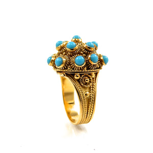 custom 18k yellow gold vintage turquoise poison ring for sale