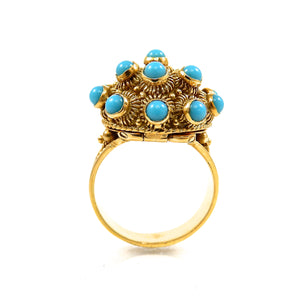custom designed 18k yellow gold vintage turquoise poison ring for sale