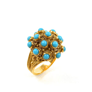 18k yellow gold vintage turquoise ring for sale