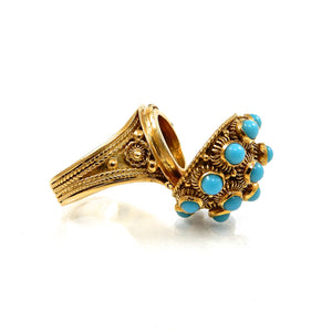 high quality 18k yellow gold vintage turquoise poison ring for sale