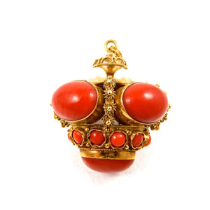 18k yellow gold, coral and pearl bobble vintage pendant for sale