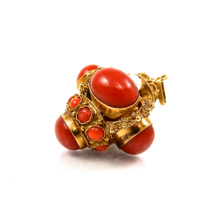18k yellow gold, coral and pearl bobble vintage pendant
