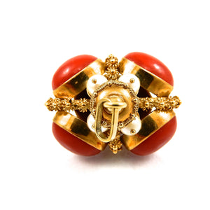 custom 18k yellow gold, coral and pearl bobble vintage pendant for sale