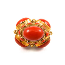 Load image into Gallery viewer, coral and pearl bobble vintage gold pendant