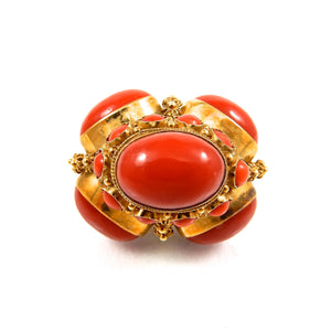 coral and pearl bobble vintage gold pendant