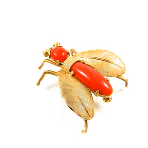 custom 18k yellow gold vintage coral fly brooch for sale