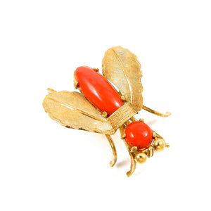 custom made 18k yellow gold vintage coral fly brooch for sale