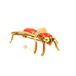 custom designed 18k yellow gold vintage coral fly brooch for sale