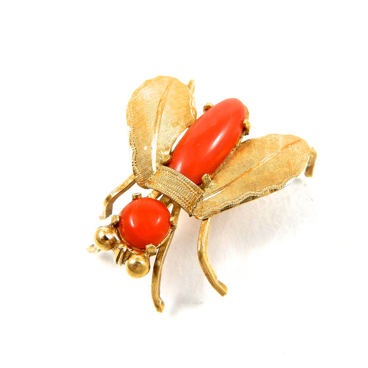 18k yellow gold vintage coral fly brooch