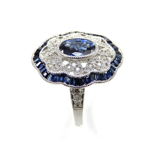 Handmade Vintage Inspired Sapphire and Diamond Ring