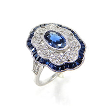 Load image into Gallery viewer, Custom Made Vintage Inspired Sapphire and Diamond Ring