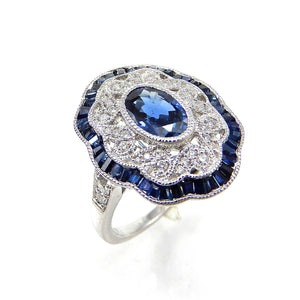 Custom Made Vintage Inspired Sapphire and Diamond Ring