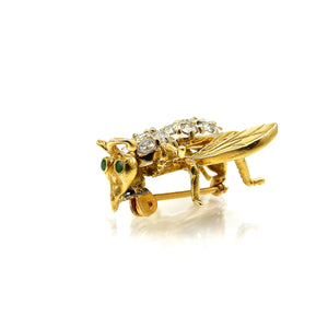 Diamond & Emerald Bee Brooch