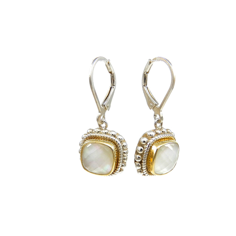 Bali Mother of Pearl Doublet Earrings
