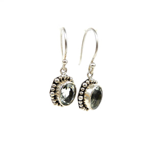 Bali Oval Gemstone Dangle Earrings