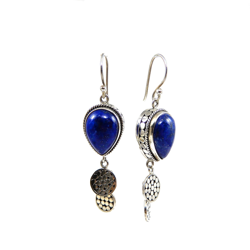 Bali Double Disc Lapis Drop Earrings