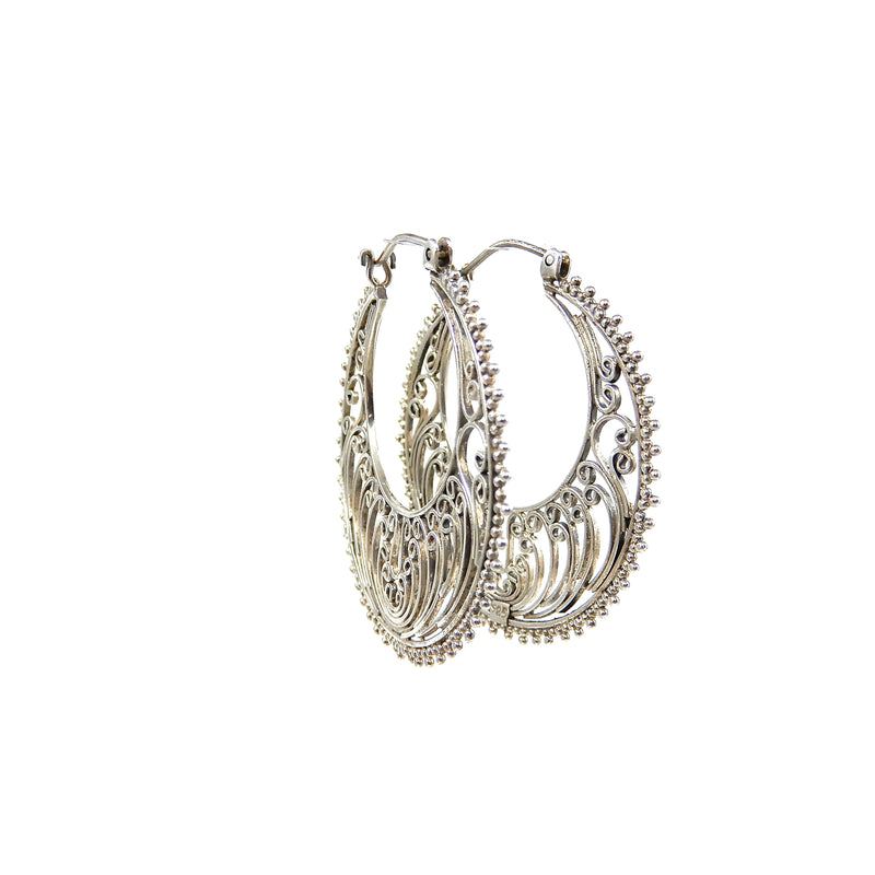 Bali Hand Filigree Hoop Earrings