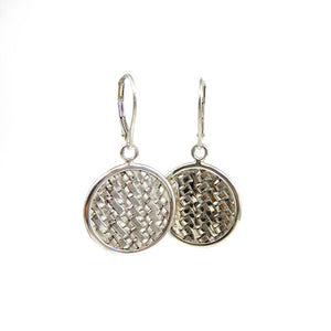 Sterling Silver basket weave round disc dangle earrings