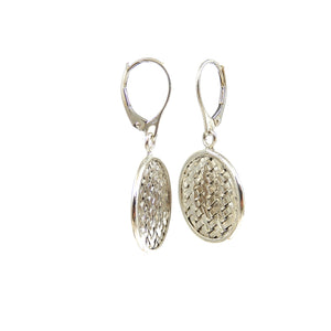 sterling silver basket weave dangle earrings.