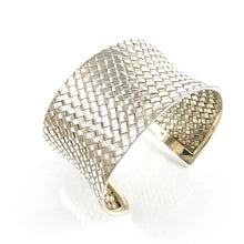 Load image into Gallery viewer, Sterling Silver Basket Weave Cuff Bracelet.
