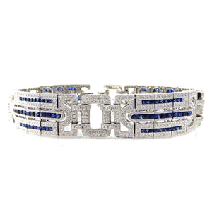 Art Deco Diamond and Sapphire Bracelet