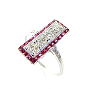 Deco inspired Ruby & Diamond Ring