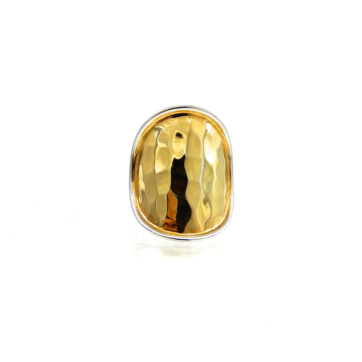 Bali Silver Hand-Hammered Ring with 18k Vermeil