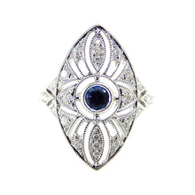 Load image into Gallery viewer, Sapphire & Diamond Marquise Shape Filigree Ring