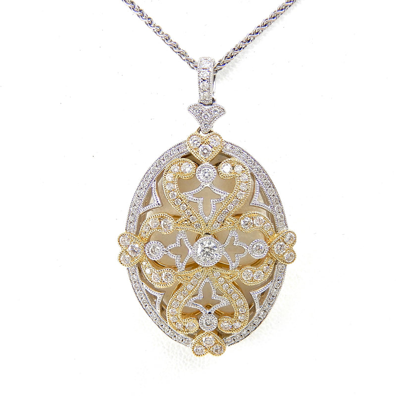Dimamond Two tone Filigree Pendant