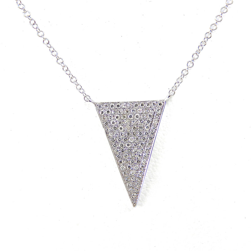 Pave Diamond Triangle Necklace