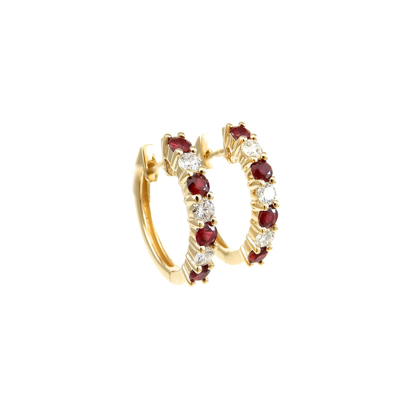 14k yellow-gold 18 millimeter hoop earrings featuring 1 carat total weight of alternating round brilliant diamonds and rubies