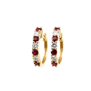 ruby and diamond hoop earrings in yellow gold