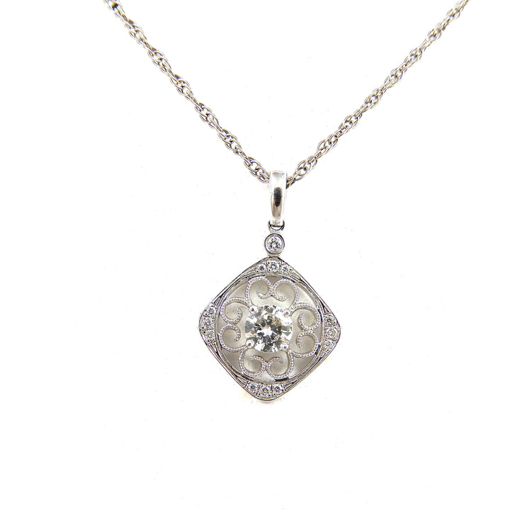 Diamond Filigree Cushion Pendant