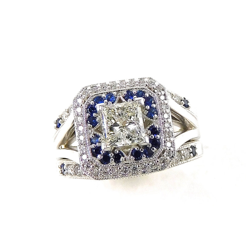 Princess Diamond and Sapphire Halo engagement ring