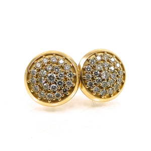 handcrafted Pave Diamond Stud Earrings
