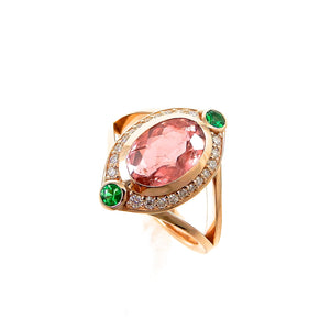 Glow Pink Tourmaline & Emerald Ring
