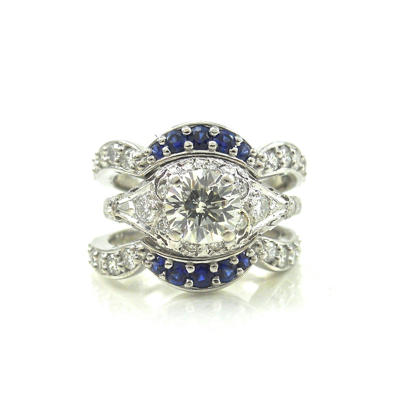 Diamond Dream Ring with Sapphire Accented Bands