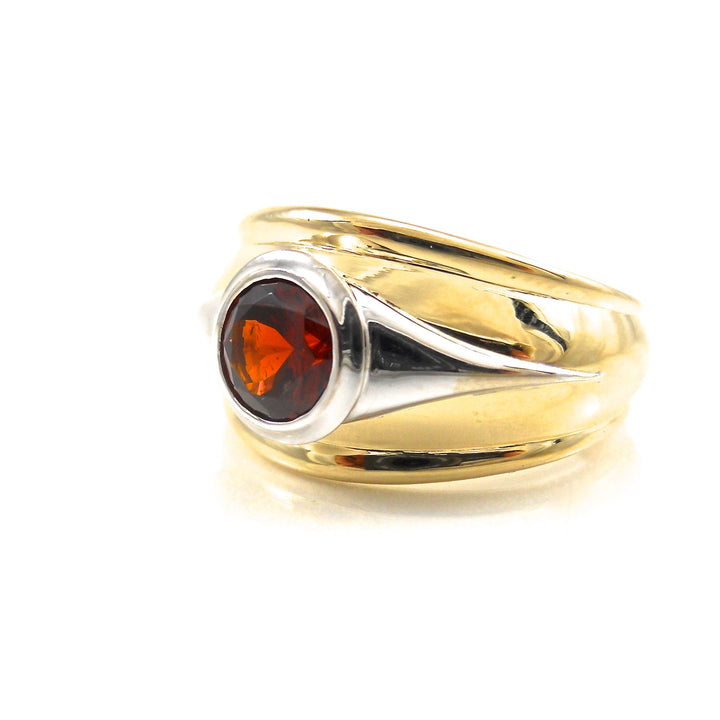 two toned wide ring red garnet