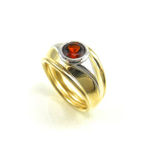 Red Garnet Wide Ring two toned yellow and white gold