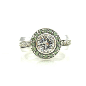 HALO ENGAGEMENT RING AND WEDDING BAND SET FOR SALE