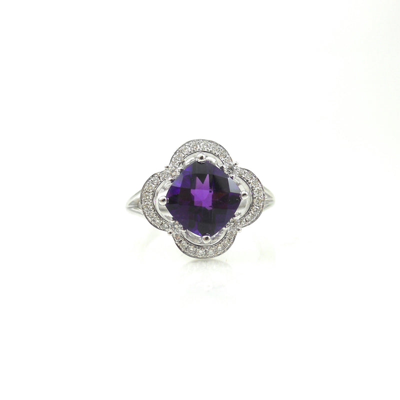 14k white-gold ring checkerboard cushion-cut amethyst in clover shaped diamond halo