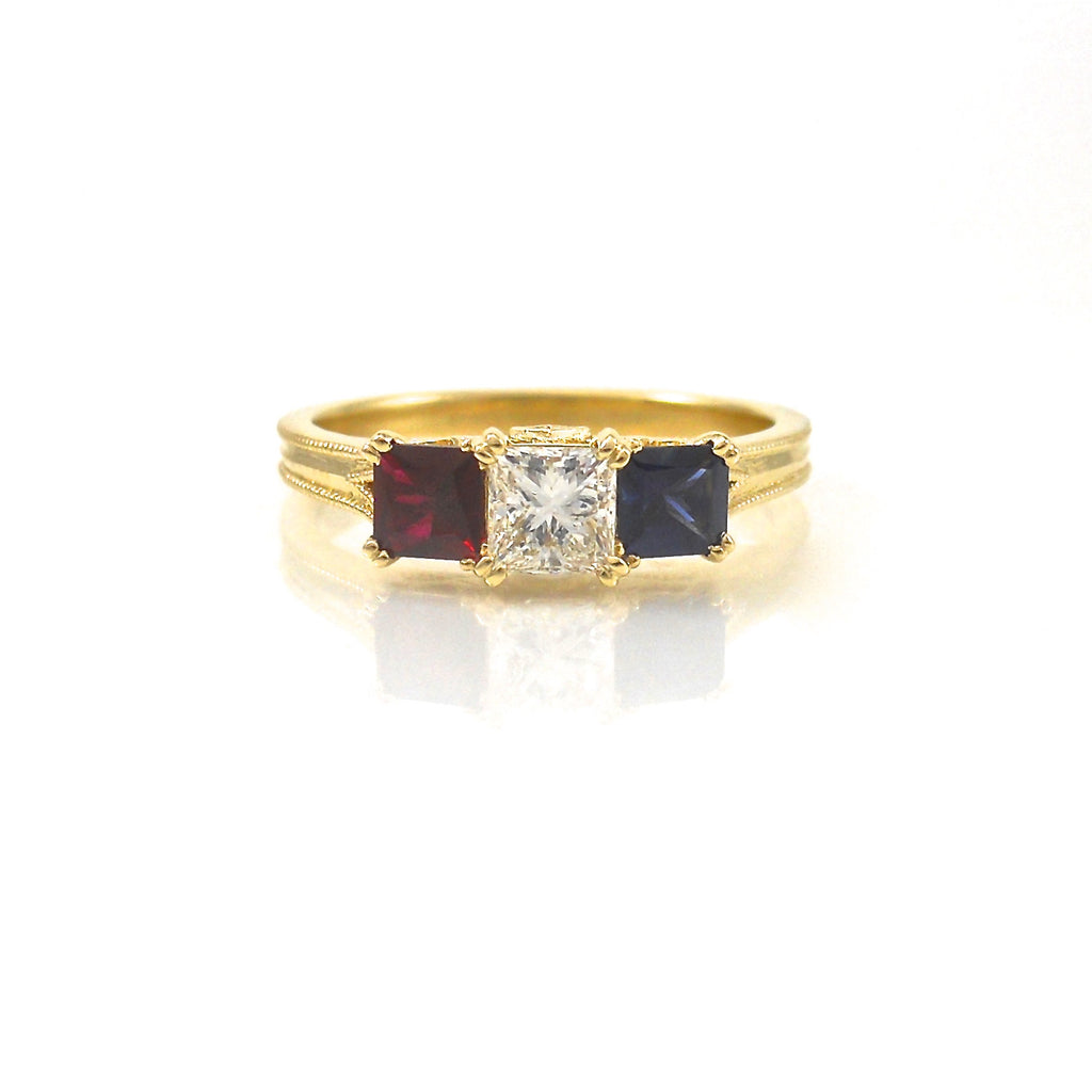 Ruby, Diamond and Sapphire Ring