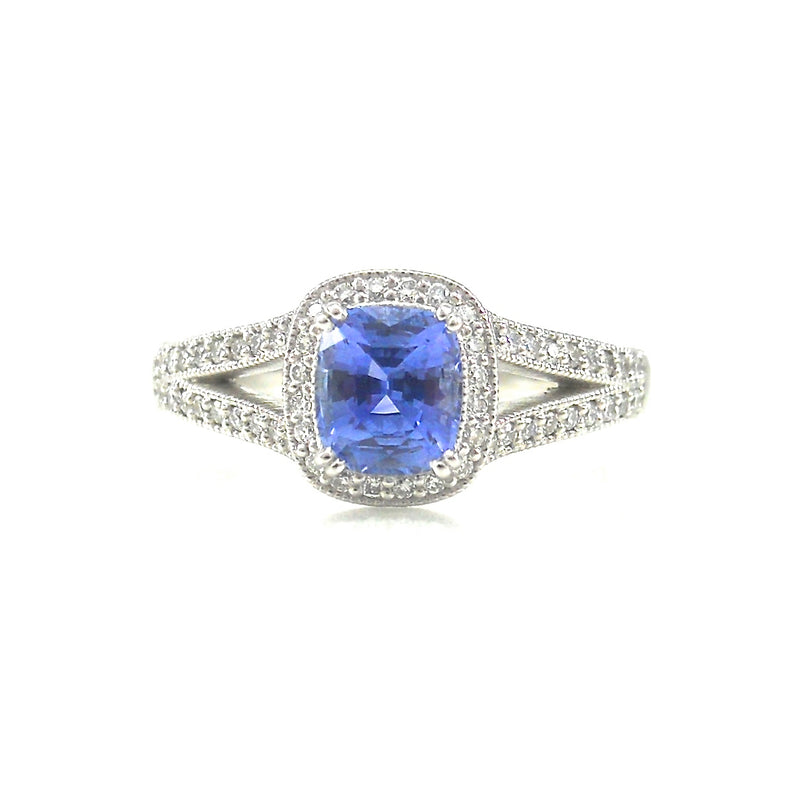 cushion cut sapphire engagement ring with diamond split shank