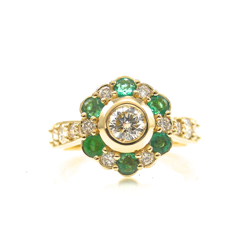 Diamond and Emerald Halo Ring