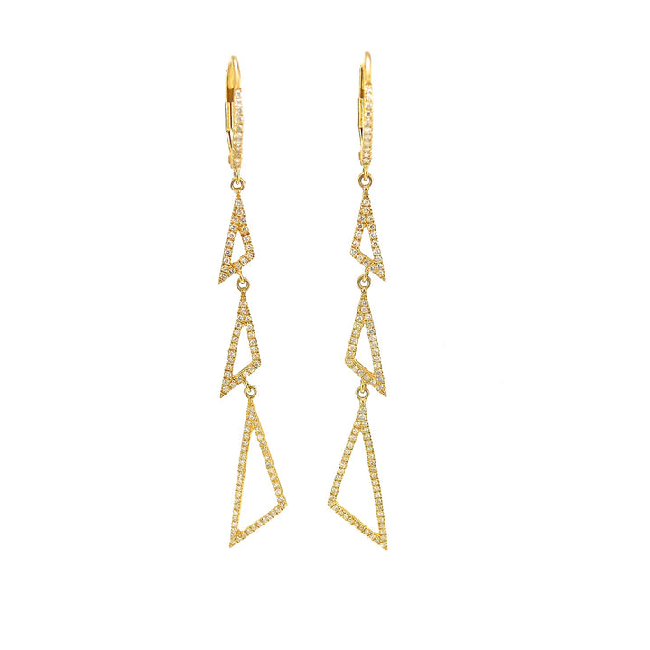 14 karat yellow-gold three tringle diamond dangle earrings