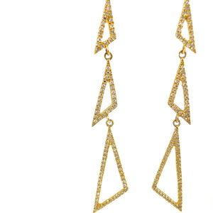 14 karat yellow-gold tringle diamond earrings