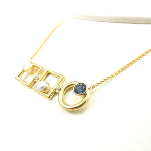 custom Opal, Pearl, Blue Zircon Necklace in yellow gold