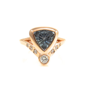 handcrafted engagement ring in rose gold organic vine inspired